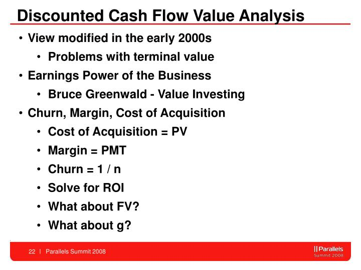 Discounted Cash Flow Value Analysis