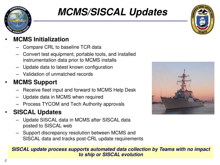 MCMS/SISCAL Updates