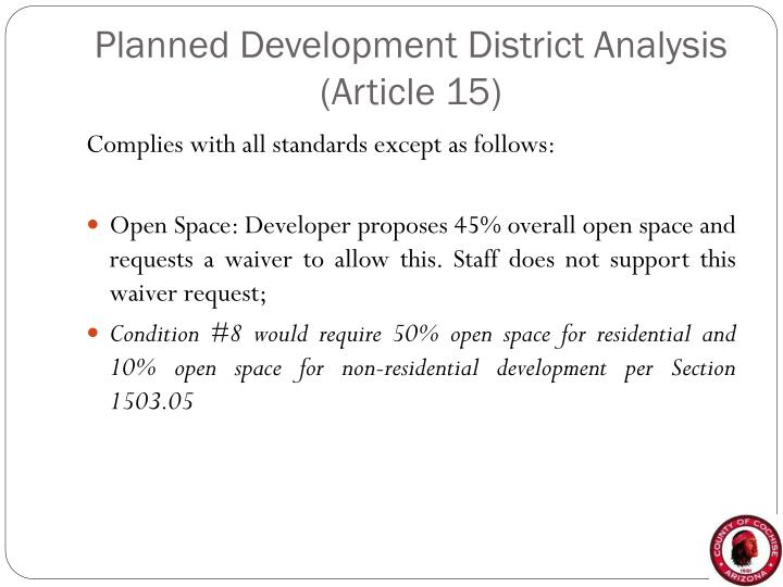 Planned Development District Analysis (Article 15)