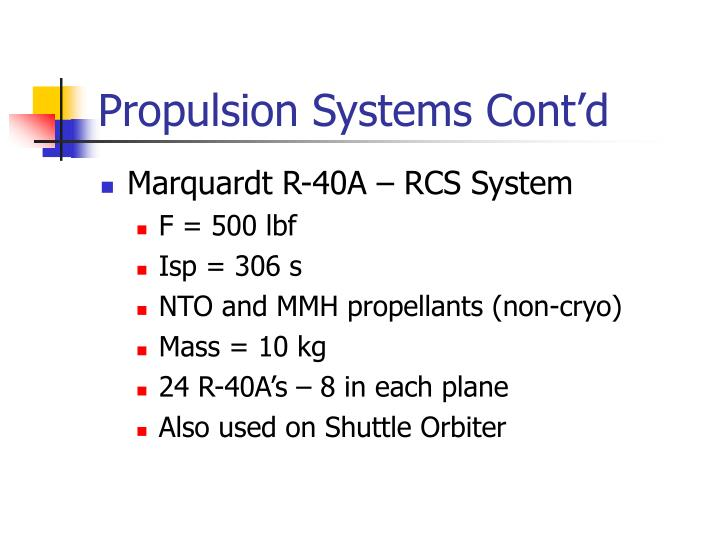 Propulsion Systems Cont'd