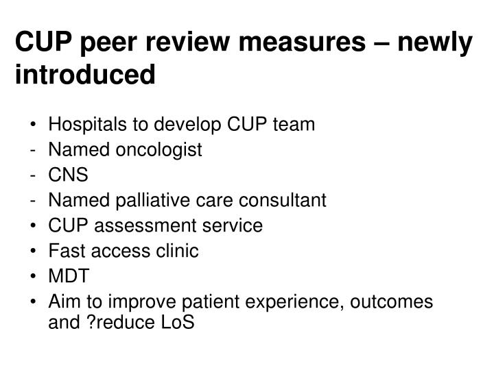 CUP peer review measures – newly introduced