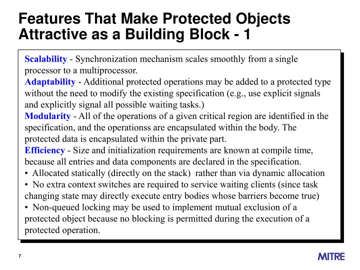Features That Make Protected Objects Attractive as a Building Block - 1
