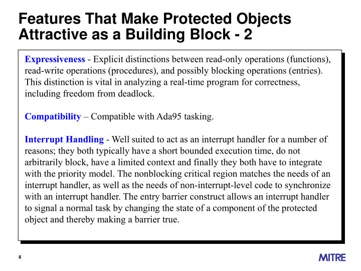 Features That Make Protected Objects Attractive as a Building Block - 2