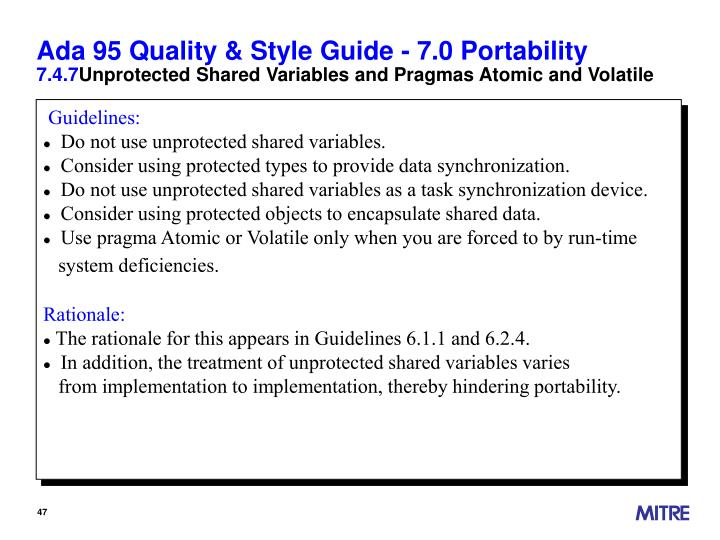 Ada 95 Quality & Style Guide - 7.0 Portability