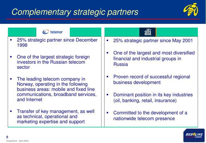 25% strategic partner since December 1998