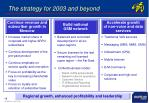the strategy for 2003 and beyond