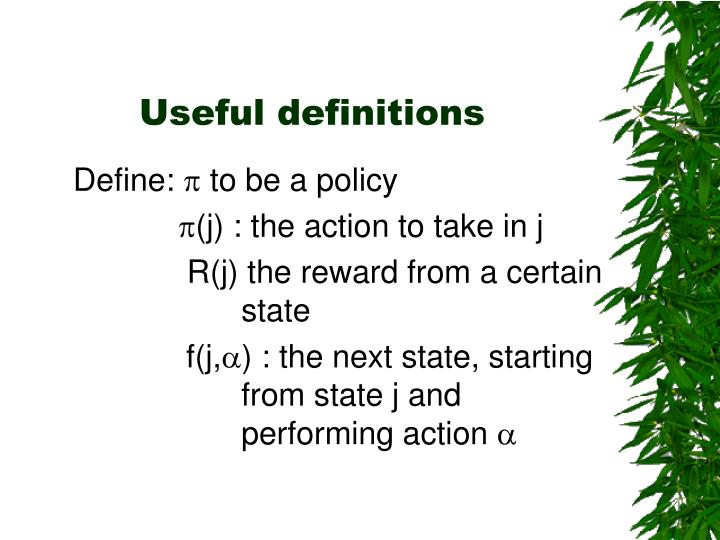 Useful definitions