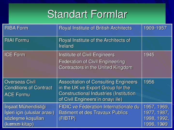 Standart Formlar