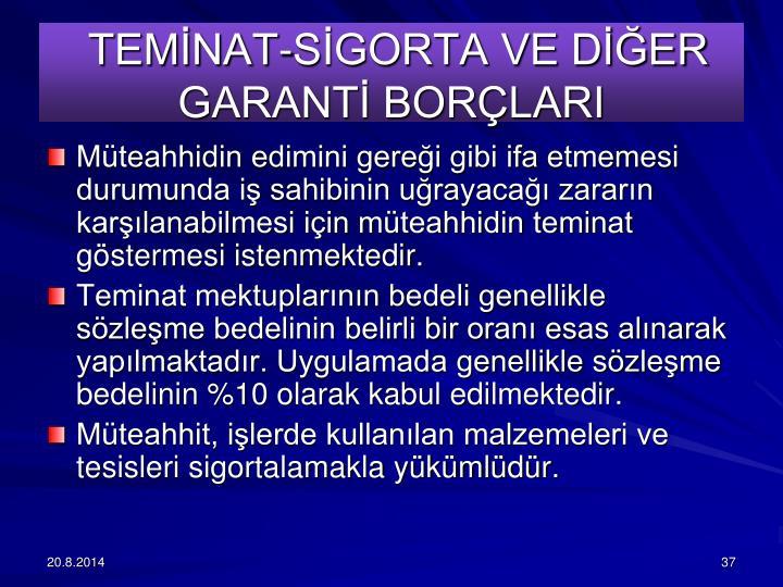 TEMNAT-SGORTA VE DER GARANT BORLARI