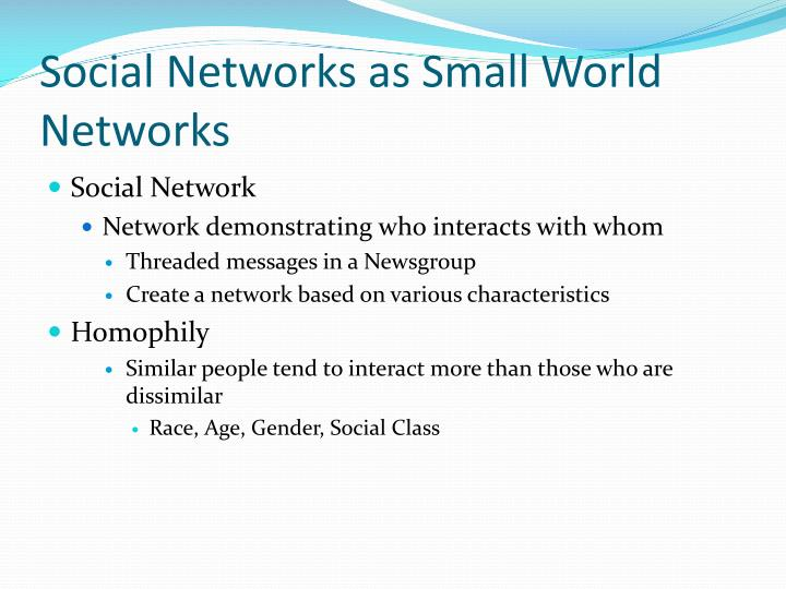 Social Networks as Small World Networks