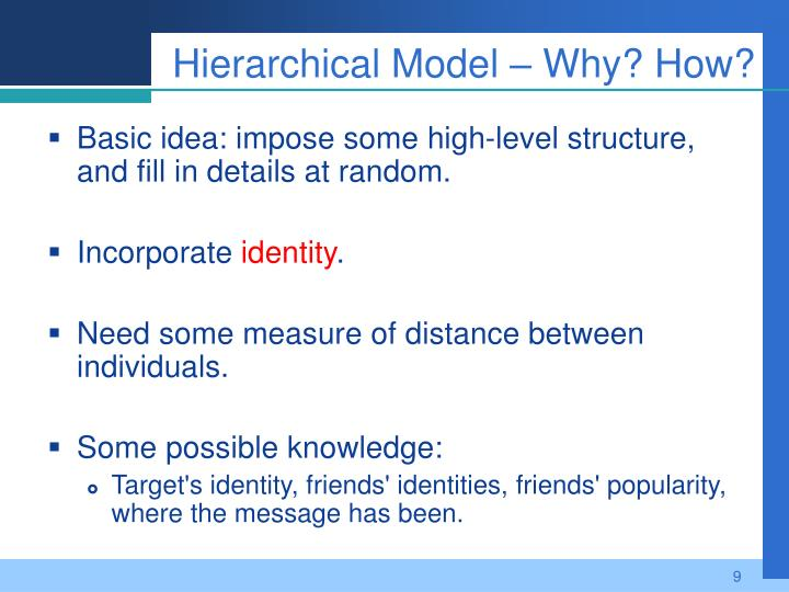 Hierarchical Model – Why? How?