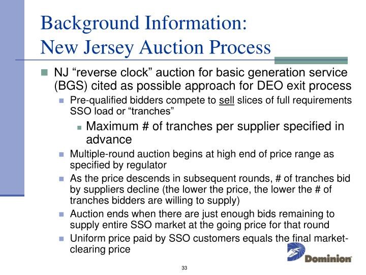 Background Information:           New Jersey Auction Process