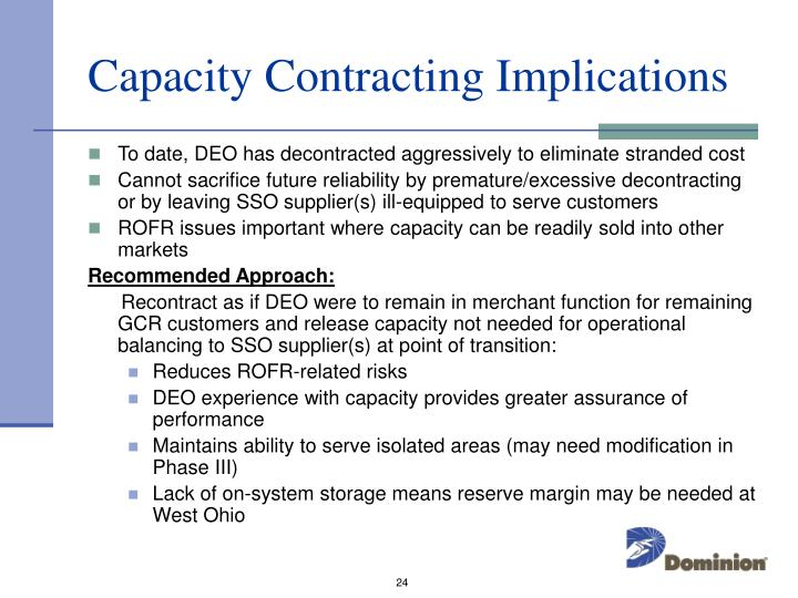Capacity Contracting Implications