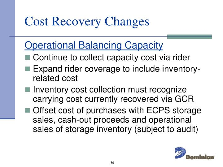 Cost Recovery Changes