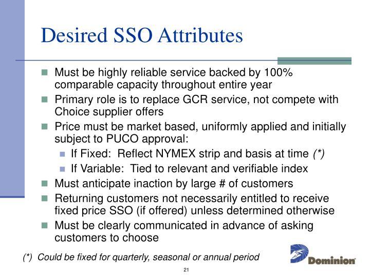 Desired SSO Attributes
