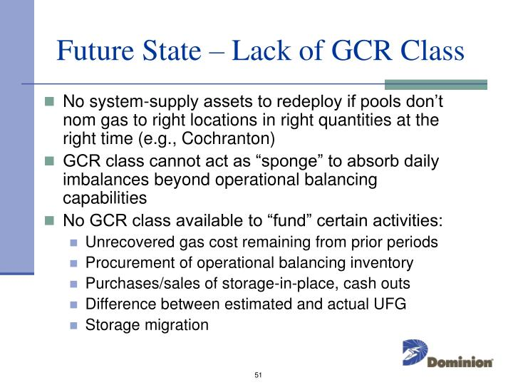 Future State – Lack of GCR Class