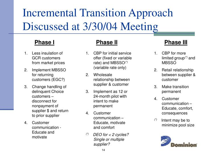 Incremental Transition Approach