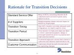 rationale for transition decisions