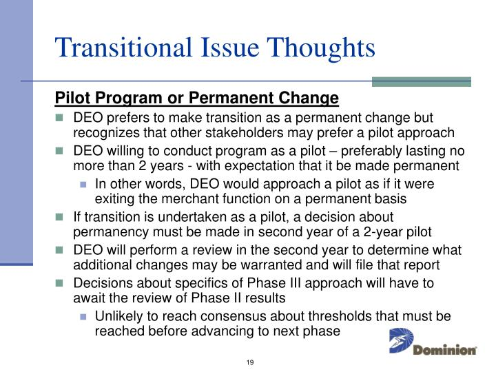 Transitional Issue Thoughts