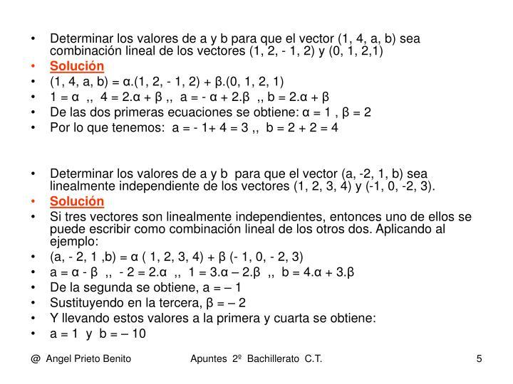 Determinar los valores de a y b para que el vector (1, 4, a, b) sea combinación lineal de los vectores (1, 2, - 1, 2) y (0, 1, 2,1)
