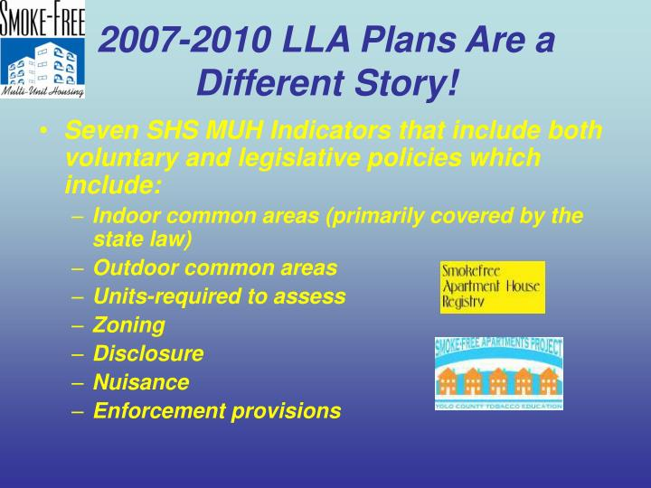 2007-2010 LLA Plans Are a Different Story!