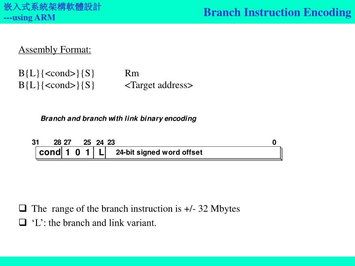 Branch Instruction Encoding