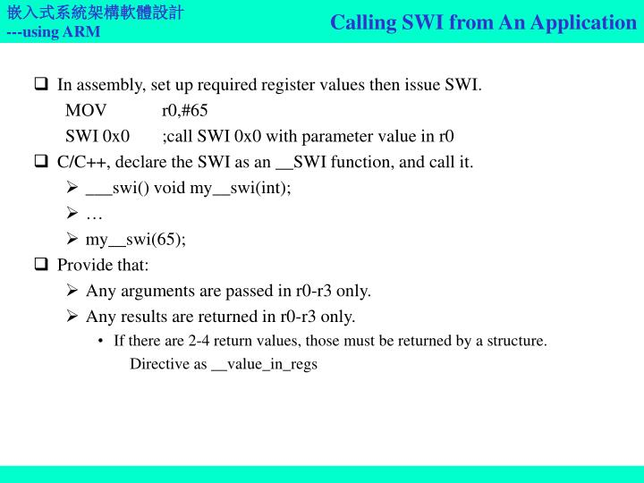 Calling SWI from An Application