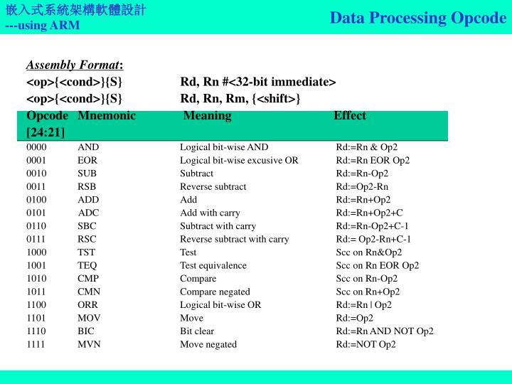 Data Processing Opcode
