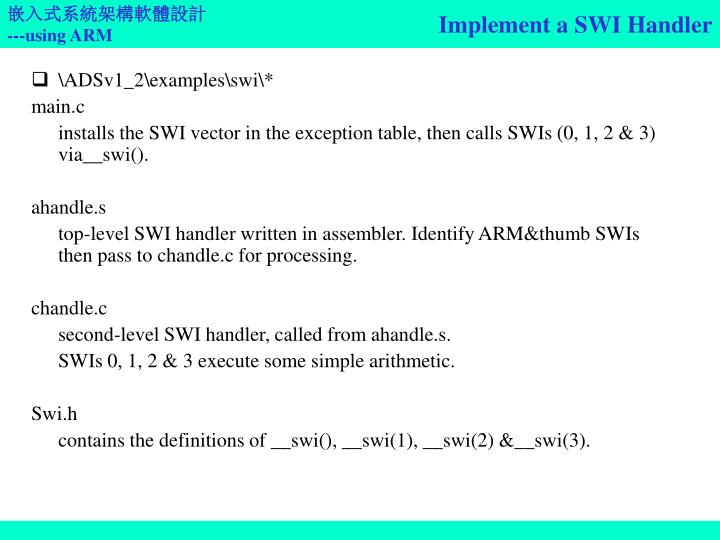 Implement a SWI Handler