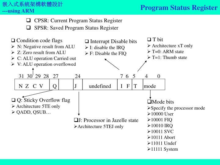 Program Status Register