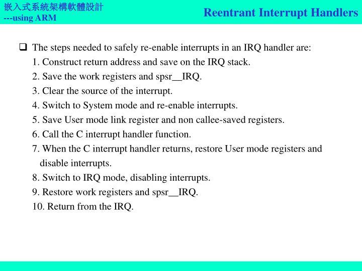 Reentrant Interrupt Handlers
