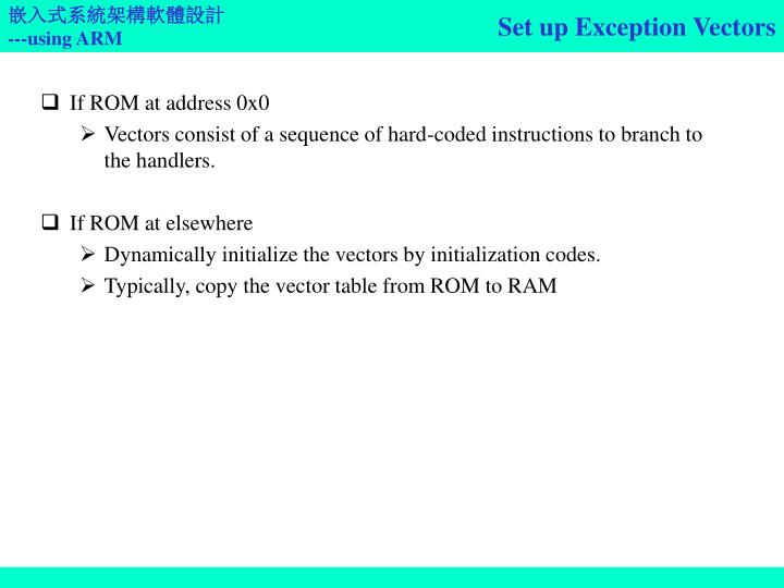 Set up Exception Vectors