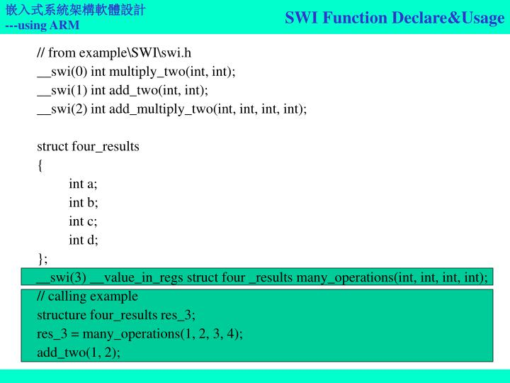 SWI Function Declare&Usage