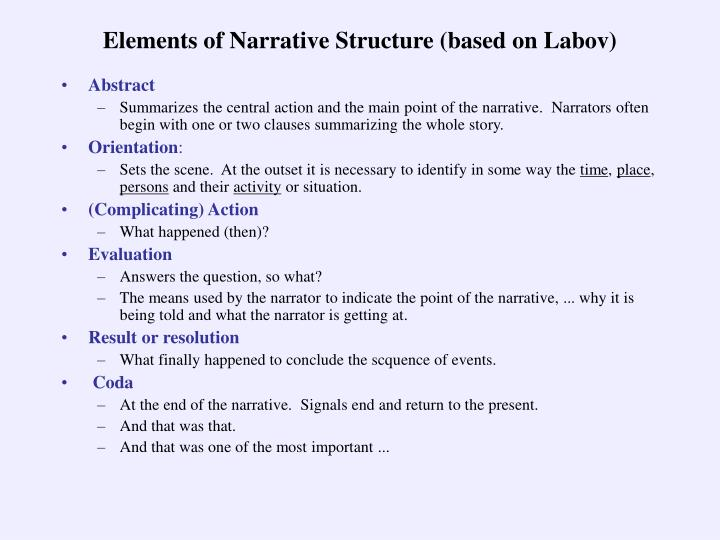 Elements of Narrative Structure (based on Labov)