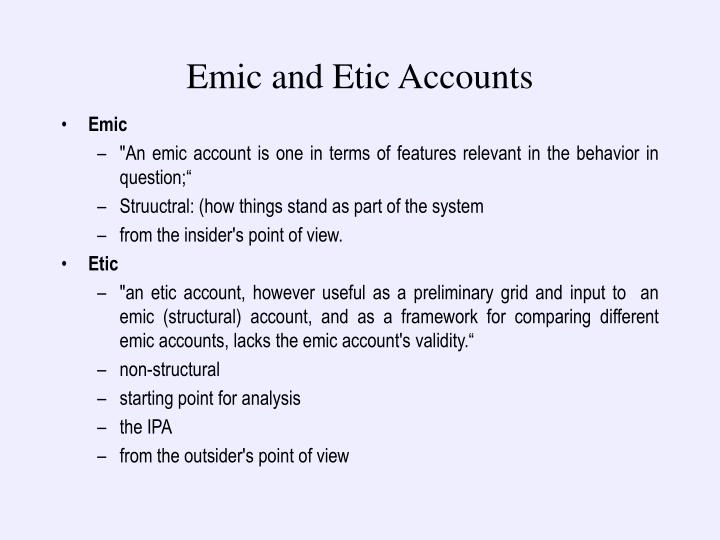 Emic and Etic Accounts