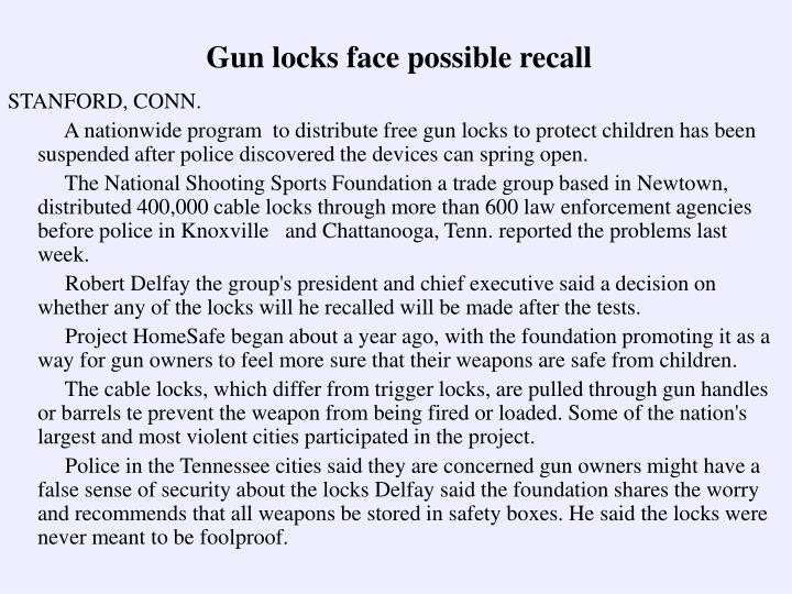Gun locks face possible recall
