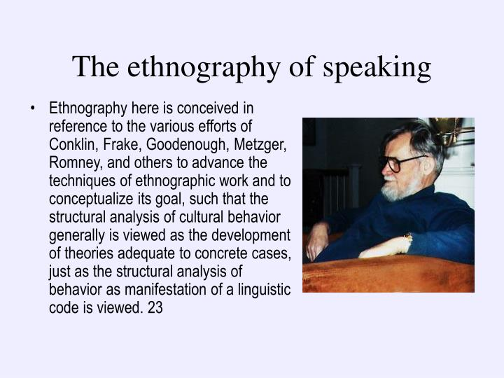 The ethnography of speaking