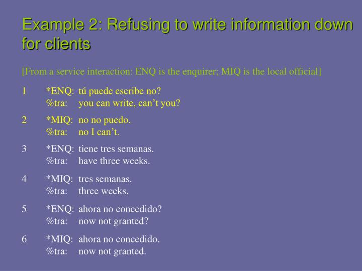 Example 2: Refusing to write information down for clients