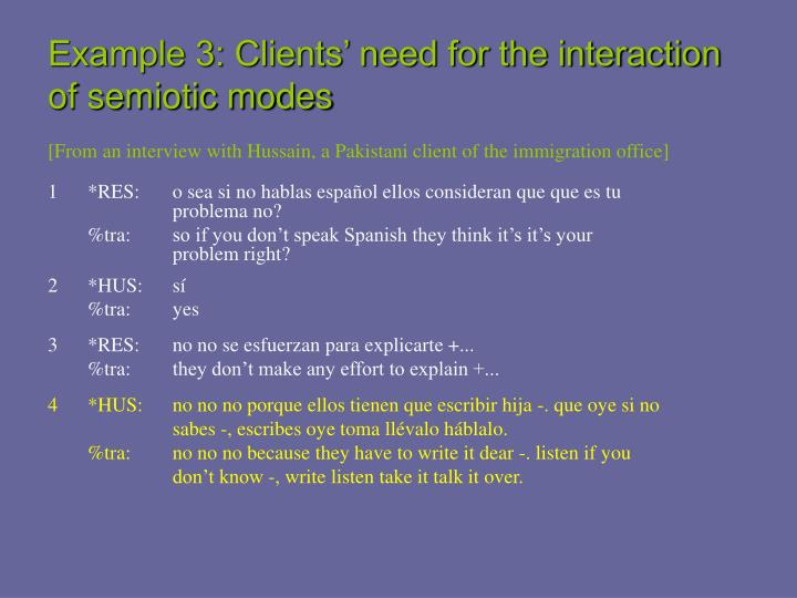 Example 3: Clients' need for the interaction of semiotic modes