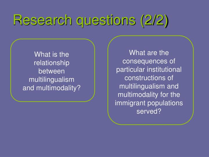 Research questions (2/2)