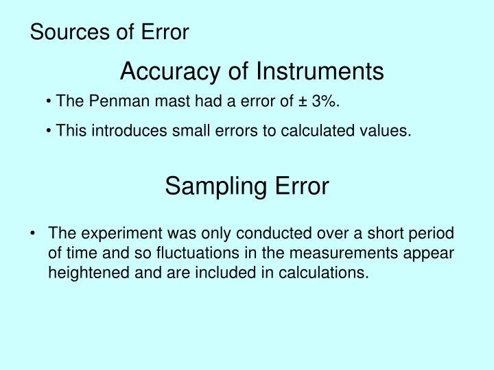 Sources of Error