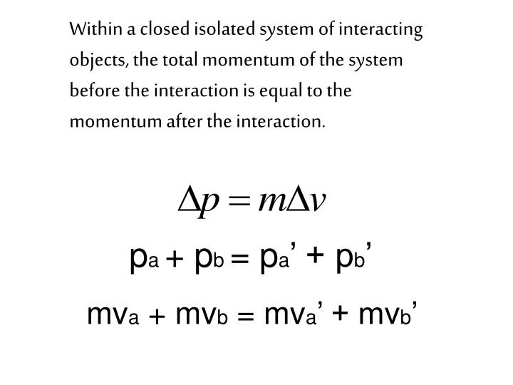 Within a closed isolated system of interacting objects, the total momentum of the system before the interaction is equal to the momentum after the interaction.