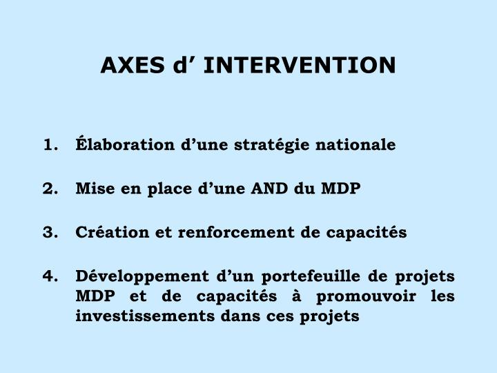Axes d intervention