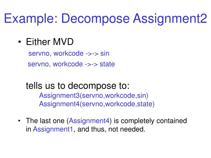 Example: Decompose Assignment2