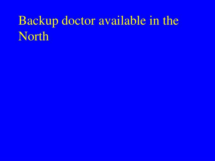 Backup doctor available in the North