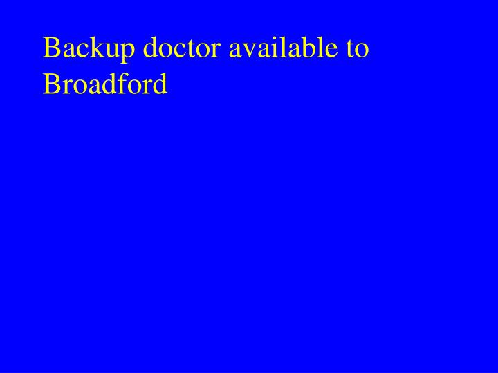 Backup doctor available to Broadford