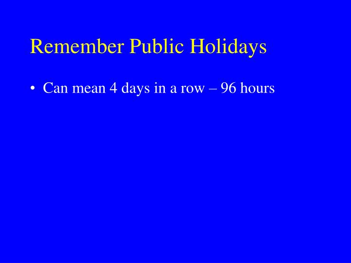 Remember Public Holidays
