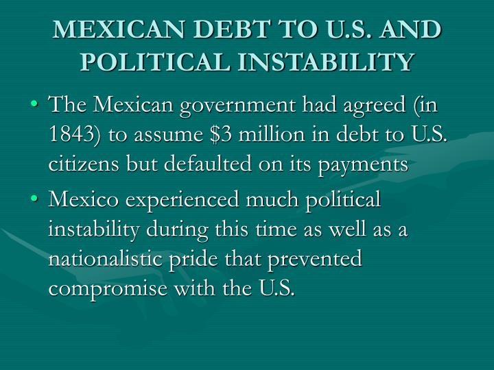 MEXICAN DEBT TO U.S. AND POLITICAL INSTABILITY