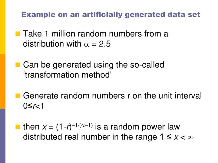 Example on an artificially generated data set