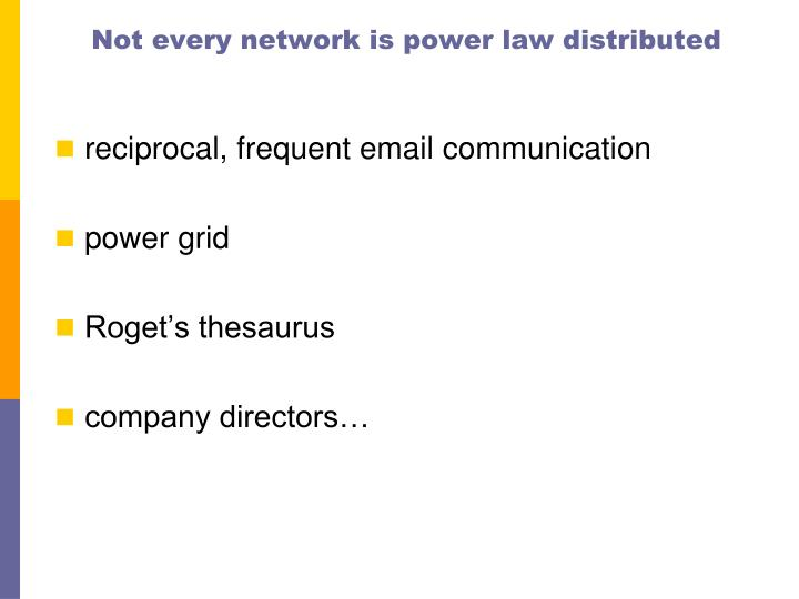 Not every network is power law distributed